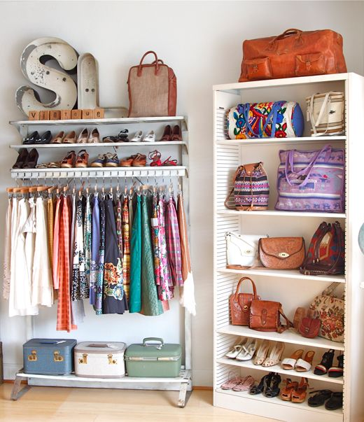 7. Use a Bookcase - Have an old bookcase that can be used? Store your folded clothes, shoes, or baskets of accessories on a bookcase for extra storage!