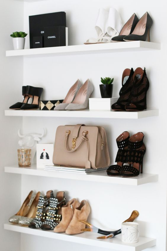 9. Floating Shelves - If you don't have a lot of closet storage, you may want to add floating shelves to a wall. They can also be used for clothes, shoes, bags, and baskets! Add succulents and small decorations to your shelves to add style to your storage!