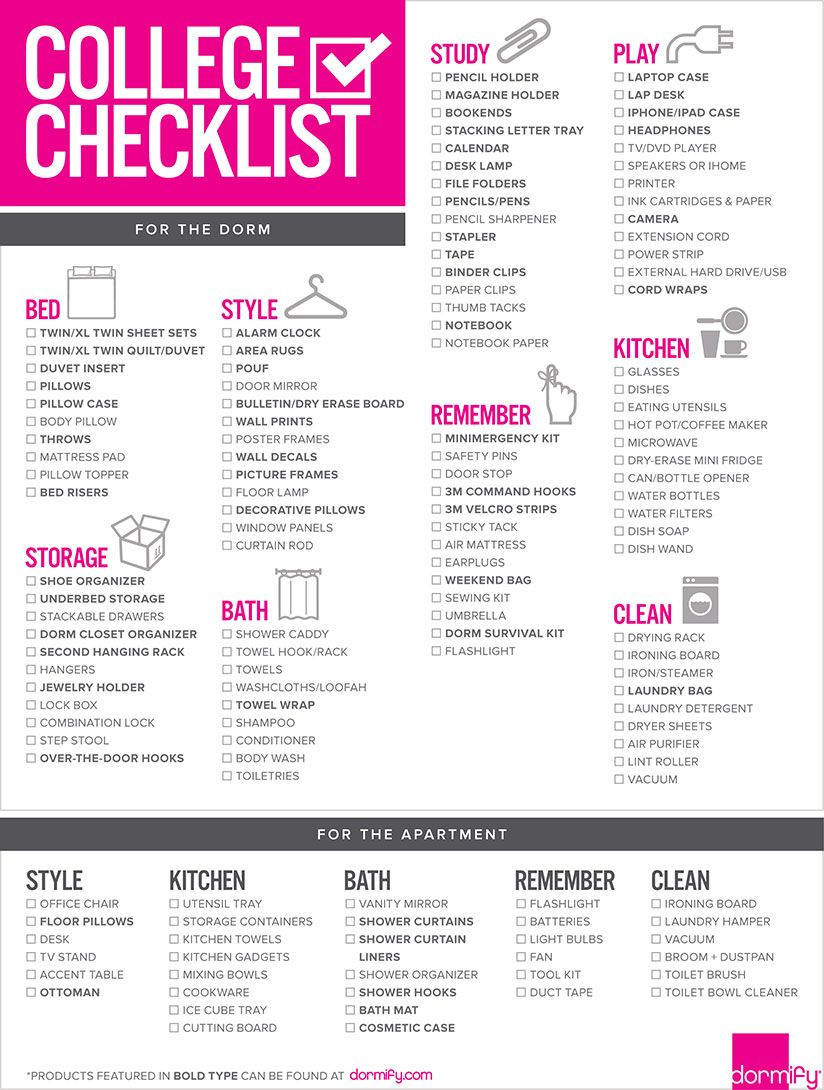 Don't Take Dorm Checklists TOO Seriously - This is NOT a school supply list! Take these lists into your own personal considerations while navigating around the internet for dorm checklists. Use them as an OUTLINE! if you end up buying every single thing on this list, chances are most items will be unused under the bed or thrown away at the end of the year! It is a waste of money to check everything off this list! Assess how you live now and what items are pertinent in your daily life;therefore, you can know what exactly you need to buy, before purchasing the entire store of Bed Bath & Beyond.