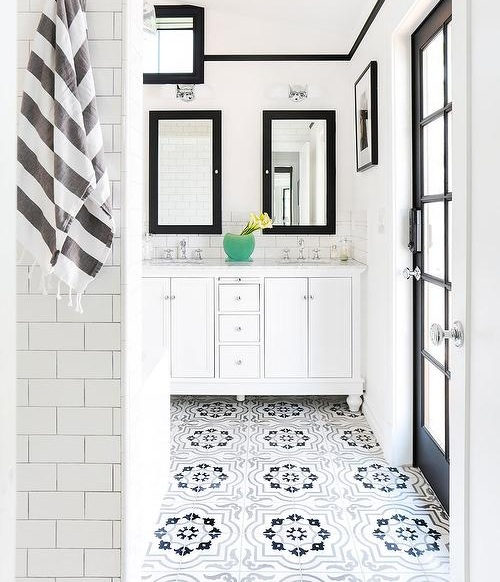 5. Moroccan tile floors. - Moroccan tile goes way back but the style is timeless. This tile can be rocked in any bathroom or kitchen as flooring or on walls.