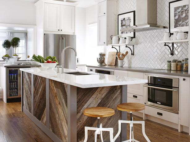 5. Wood Tones - Our last trending favorite is to deck your kitchen with a wooden island. Check out the image on the left for some serious kitchen envy.This farmhouse chic look is the perfect way to add character and comfort to your contemporary kitchen.