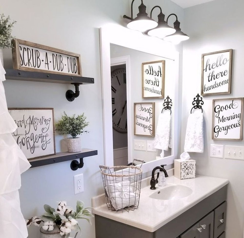 5. Fabulous Fixtures - Another key element of a pinterest-worthy guest bathroom is to have lighting that dazzles! Not too harsh or bright, but just the perfect amount of lighting to give your bathroom the atmosphere of a spa retreat!image via bearsgametoday.us