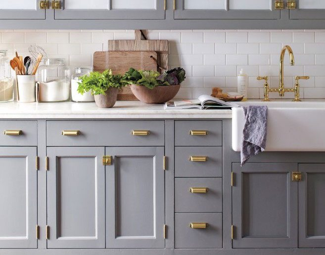 3. Strike Gold with Hardware - Replacing the hardware in your kitchen or bathrooms is the PERFECT way to subtly upgrade your decor to the next level. Golden accents are on trend right now (and they are STUNNING), so incorporate them into your home now!If you have a modern or contemporary kitchen, opt for a sleek, elongated pull for clean lines. If you have an antique look or intricately designed cabinetry, opt for knobs or unique choices.