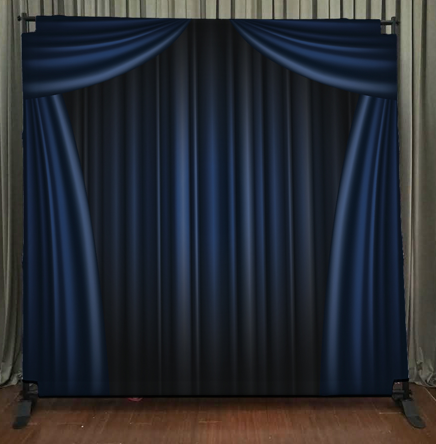 Princeton Photo Booth Blue Curtain Backdrop