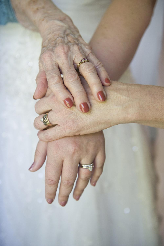 three generations of wedding rings.