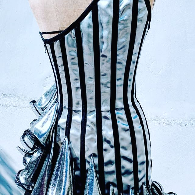Metallic Silk Fluted Dress
