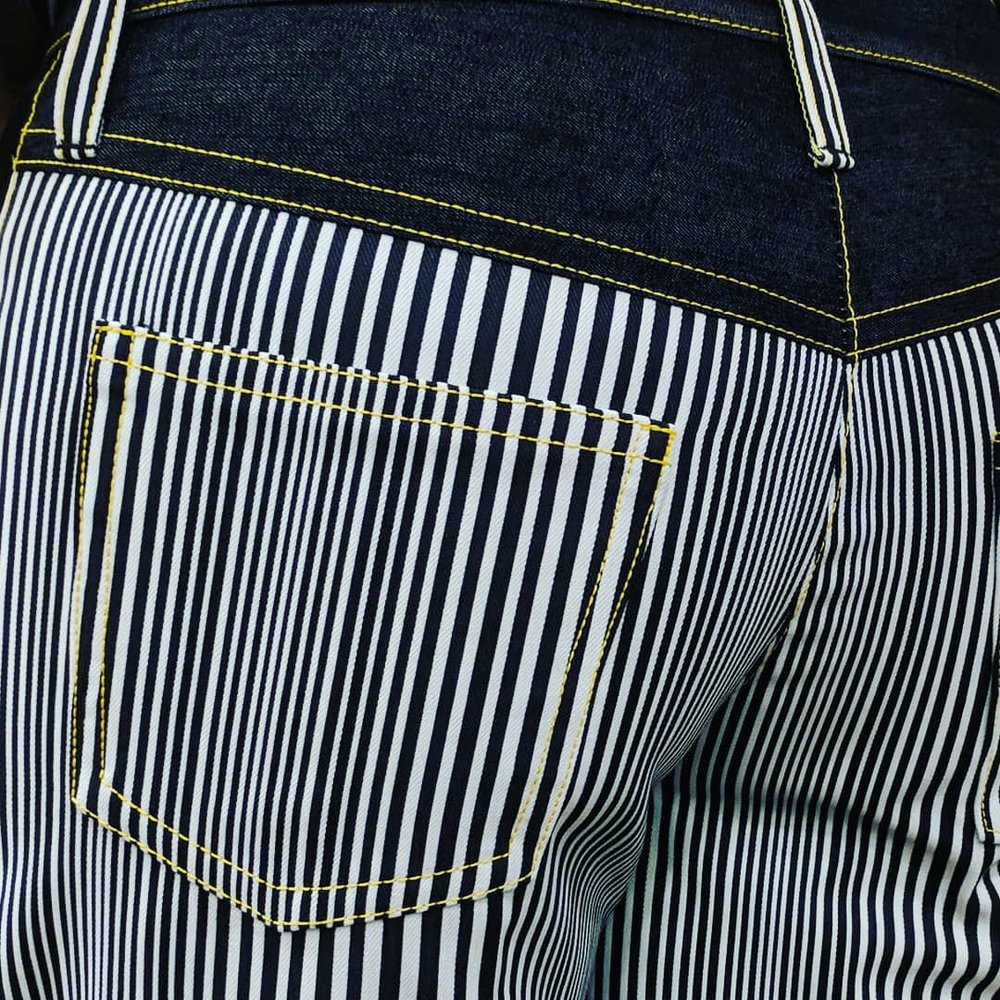 Black & White Striped Jeans