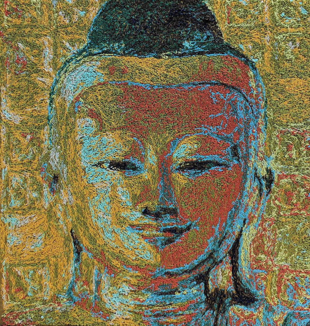 Machine Embroidered Buddha