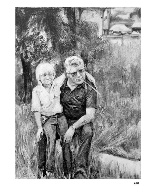 I was honored when @jmscnwi asked me to draw this photo of her brother, Dave, and father, Harold, taken around 1980. It's impossible not to think about the people I'm drawing as I'm working, whether it's feeling like I'm spending time with those I know and care about or imagining what someone I've never met might be like. Both have their challenges. My experience doing this one was certainly challenging—I was drawing for people I know, people who are missing someone very special to them, people I hope will feel I properly paid homage to a wonderful man whom I miss too. But for those same reasons, the experience was all the more rewarding, and this drawing is, hands down, one of my favorites.