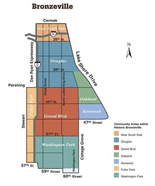 """- Chicago's Bronzeville neighborhood covers 3½-square-miles stretching from Cermak Road at its northern border to 60th street to the south and from Lake Michigan to the Dan Ryan Expressway.Bronzeville is just little over a mile wide. This limited space where blacks could live due to restrictive housing covenants gave it the nicknames of """"Black Belt"""" and """"Black Metropolis.""""At its peak in the 1920s more than 300,000 lived in the narrow strip, but today its population stands at less than one-quarter of that.During it's heyday from the 1900s through the 1950s, Bronzeville was a center for African-American culture that rivaled Harlem for its politics, business district, music and dance."""
