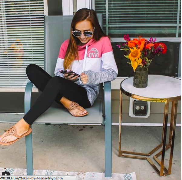 sweatshirt  //  leggings  // side table (from homegoods- similar  here ) //  chairs  //  rug