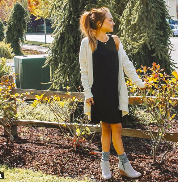 Cardigan  (wearing xs) //  Dress  //  Booties  //  Makeup Setting Spray