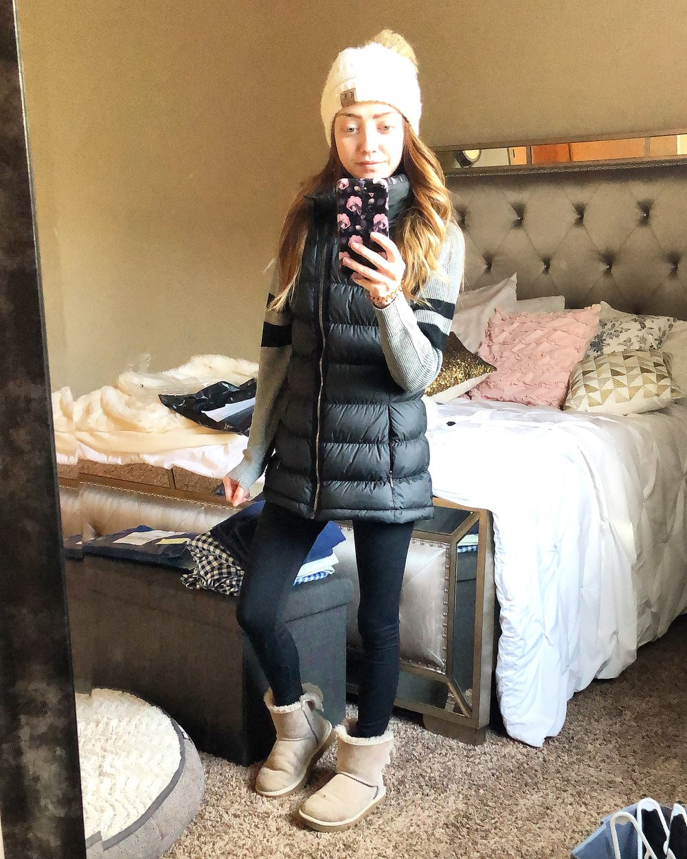 leggings //  boots //  grey henley // beanie //vest (no longer available- similar  here ) affordable version  here  and  here