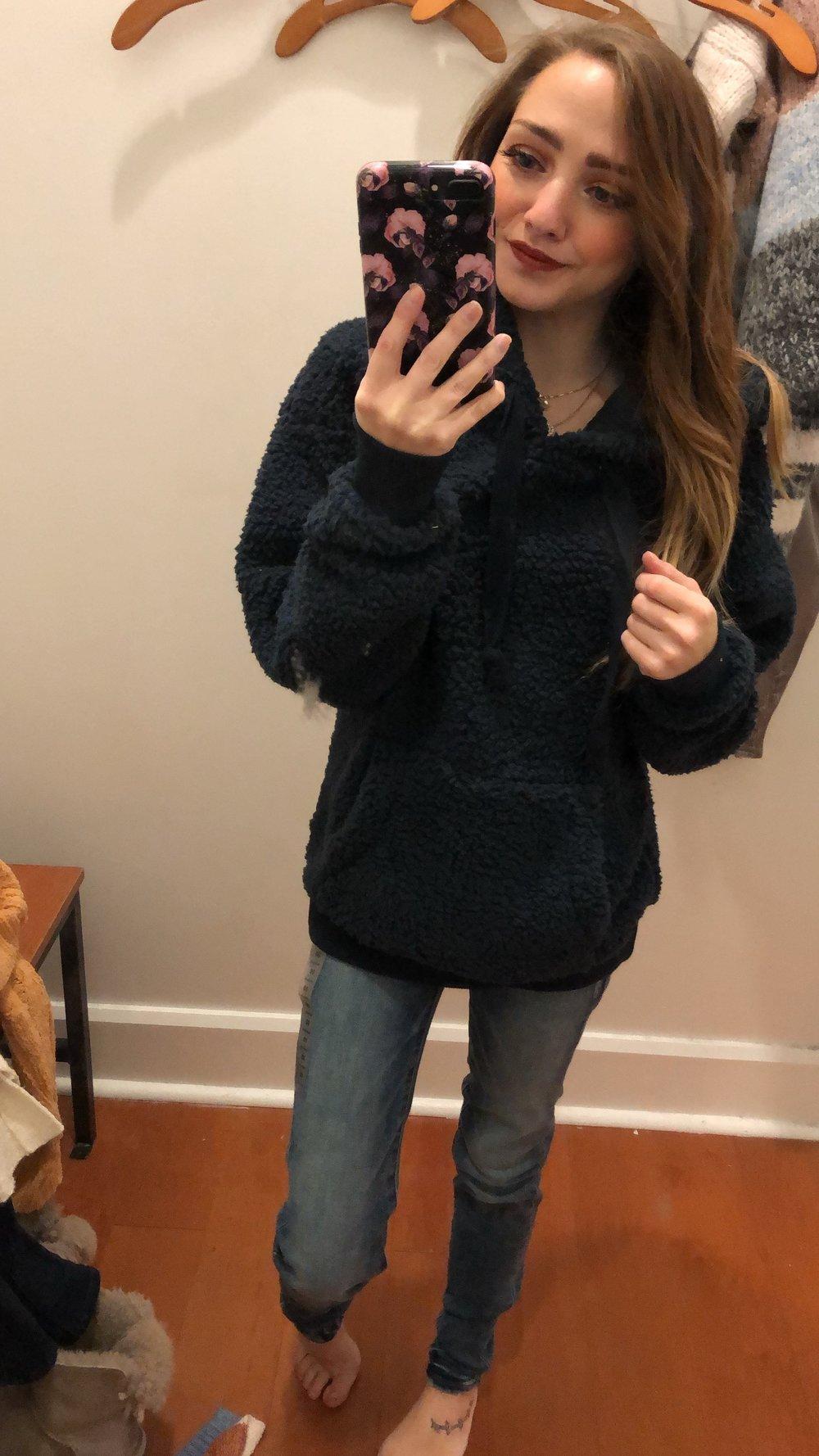 jeans  //  sherpa hoodie
