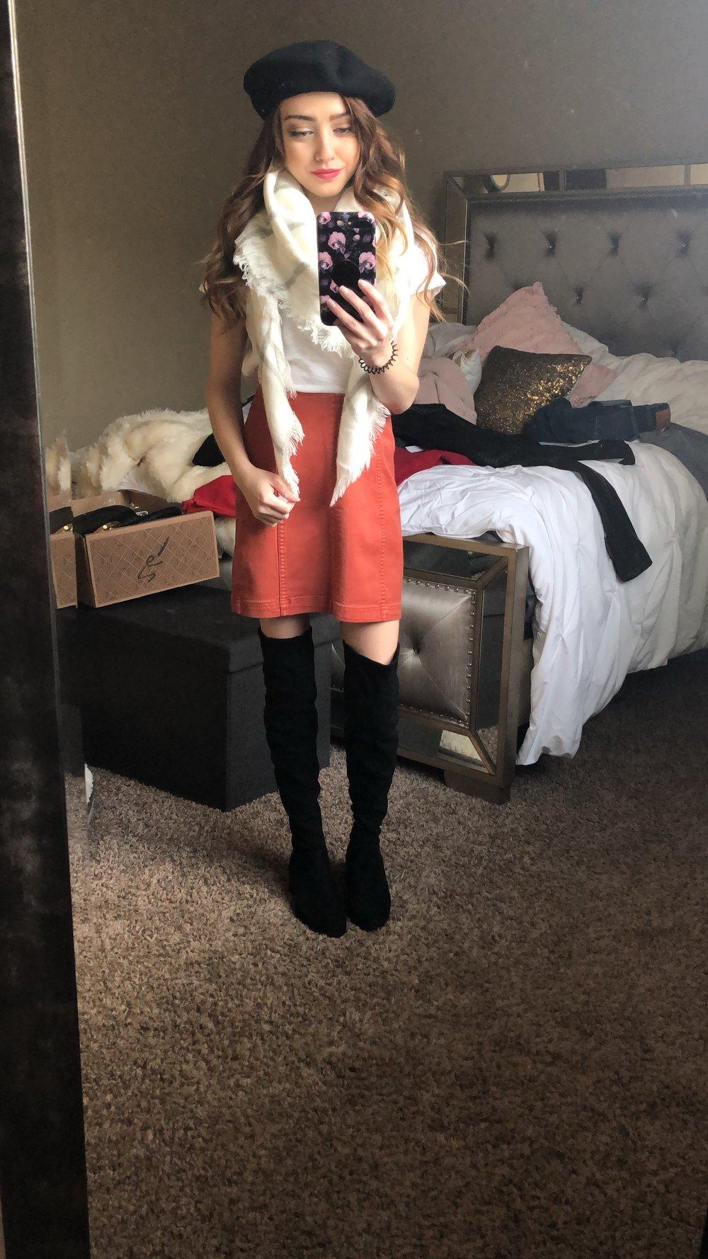 skirt  //  tee  //  OTK boots  //  hat