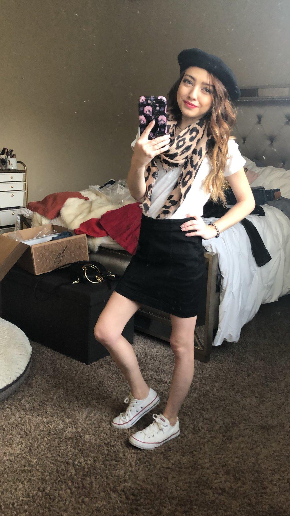 skirt  //  tee  //  converse  //  hat