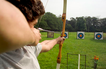 archery - We offer you the chance to try your hand at archery, both indoor and outdoor. Challenging competitions between guests can be organised at your varying abilities, and we supply both left and right handed bows.* Bows & 10 arrows provided per person and shoot for the bullseye!
