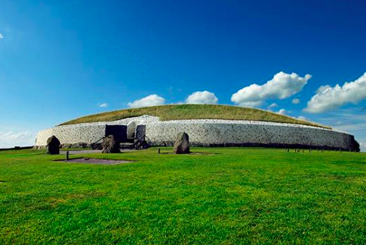 Newgrange  in the Boyne Valley is a 5000 year old Passage Tomb famous for the Winter Solstice illumination (30 min drive).