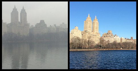 The same picture of the New York Skyline taken 18 hours apart