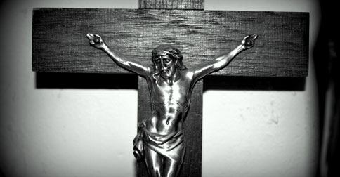 black and white jesus on cross