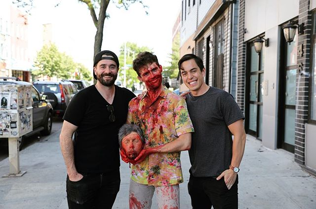 My dads are a-head of their time. @rickandrubyfilm starring and written by @itsfusillijerry #horrorcomedy #practicaleffects @vitussfx #filmmaking @stephen_michael_simon.mov @scott.tv #bloodbath #productiondesign @melonie__b @goldsoundsbar