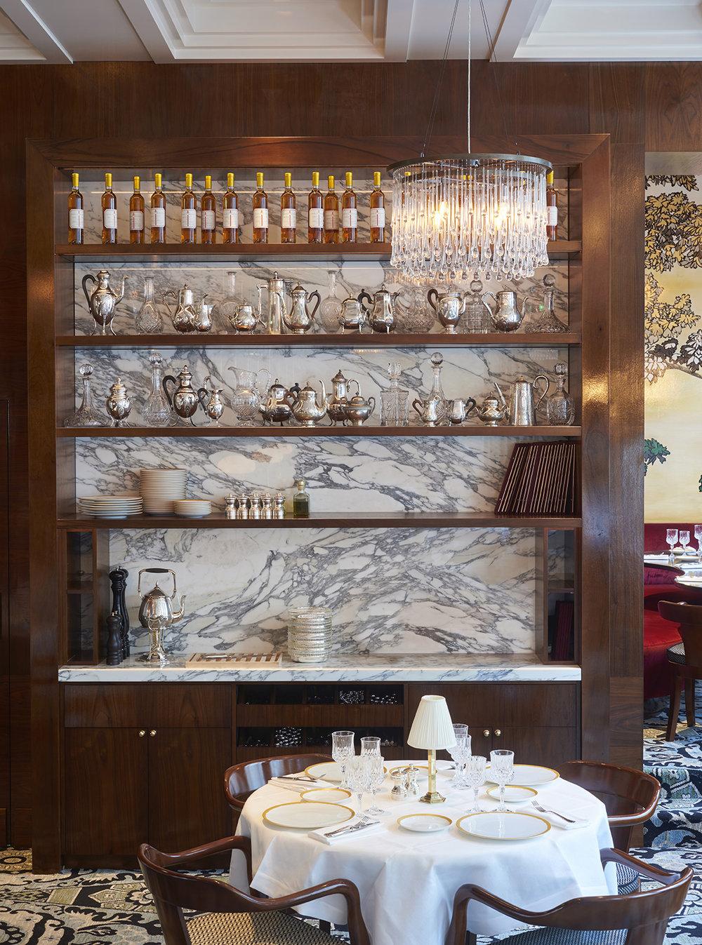 dallage Mur Marbre arabescato Restaurant Noto Salle Pleyel Omni Marbres
