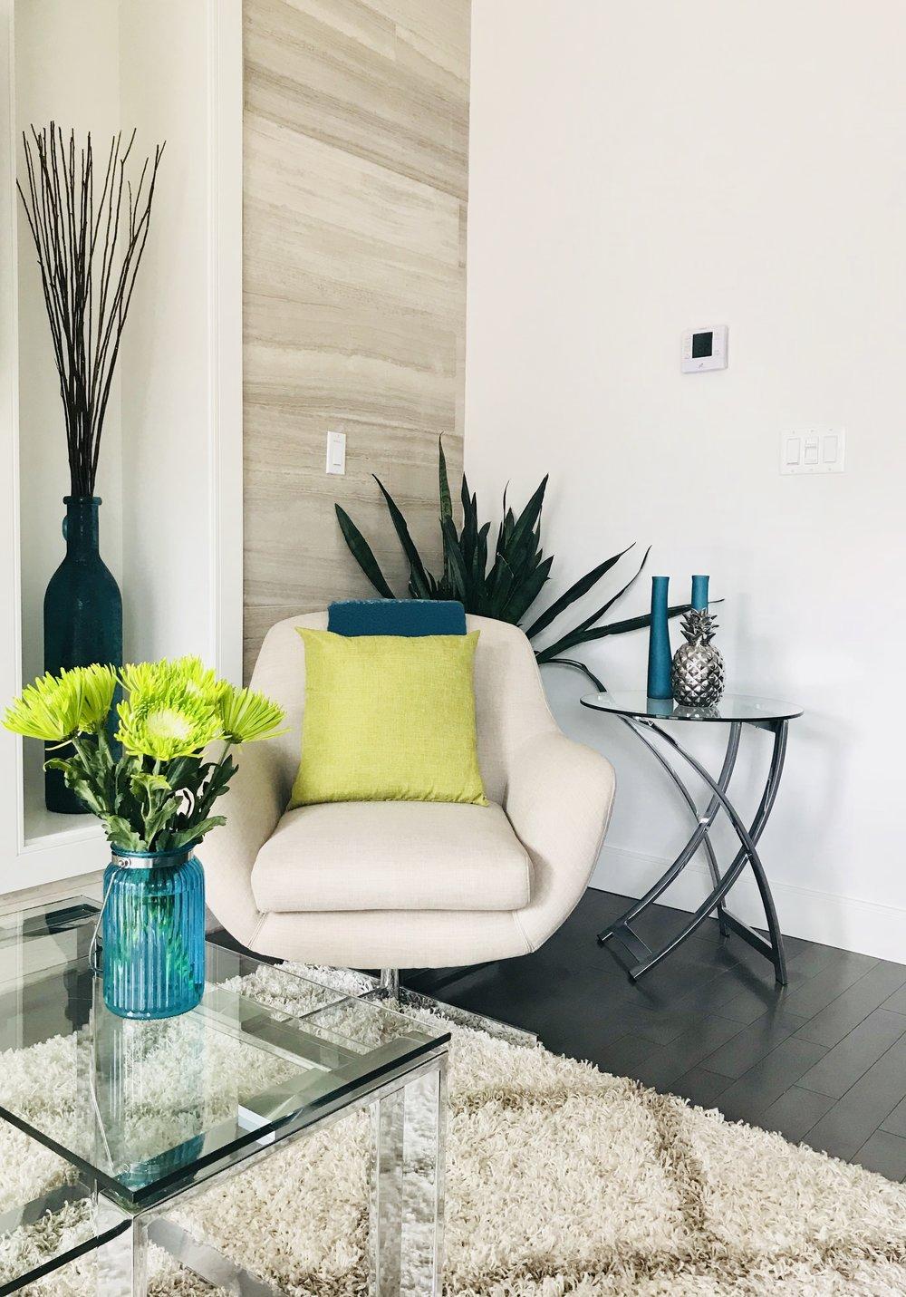 Modern-Minimal-Living Room Design-Coffee Table Styling-Reading Nook-Style Maven Decor-Edmonton Canada