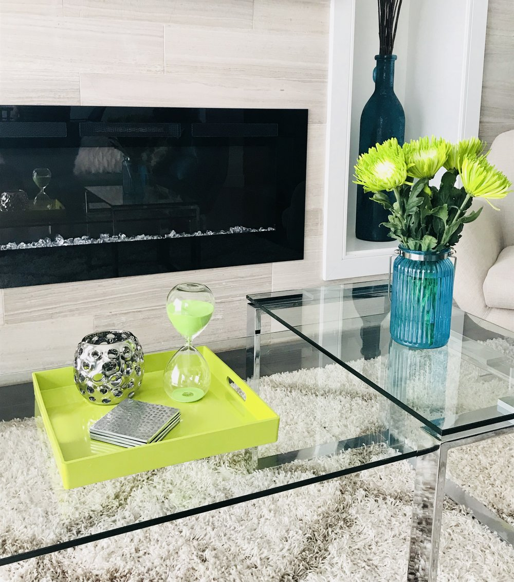 Modern-Minimal-Living Room Design-Modern Fireplace-Coffee Table Styling-Style Maven Decor-Edmonton Canada
