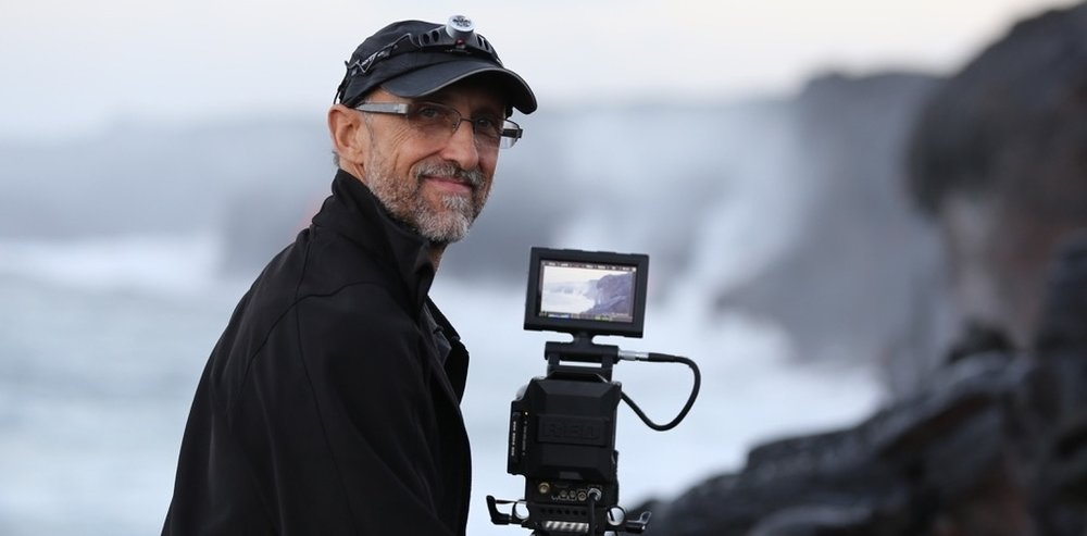 Michael Lienau filming at Kilauea Volcano, Hawaii