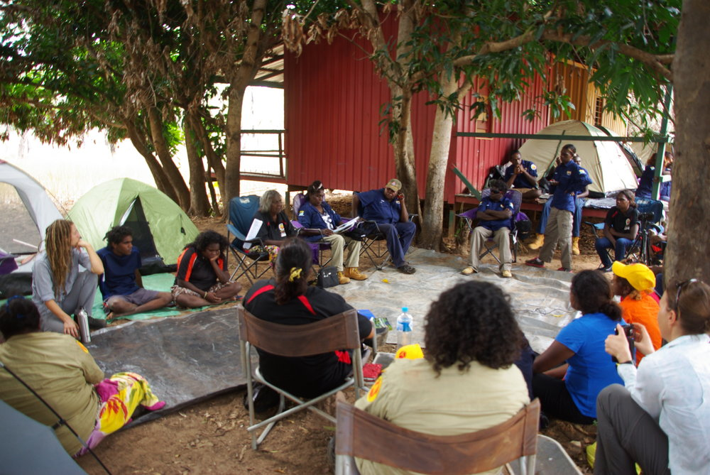 Cherry Daniels lecturing about leadership, project planning and cultural identity at the eastern Arnhem Land women ranger's gathering 2016