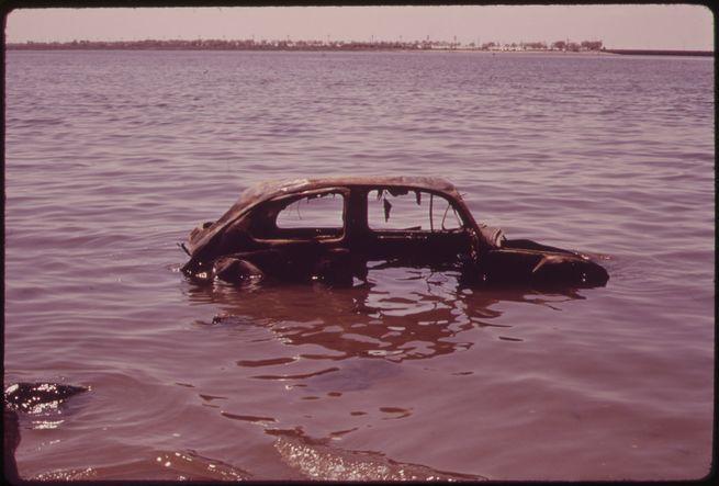 Abandoned Car in Jamaica Bay, June 1973.  Arthur Tress, EPA, National Archives.