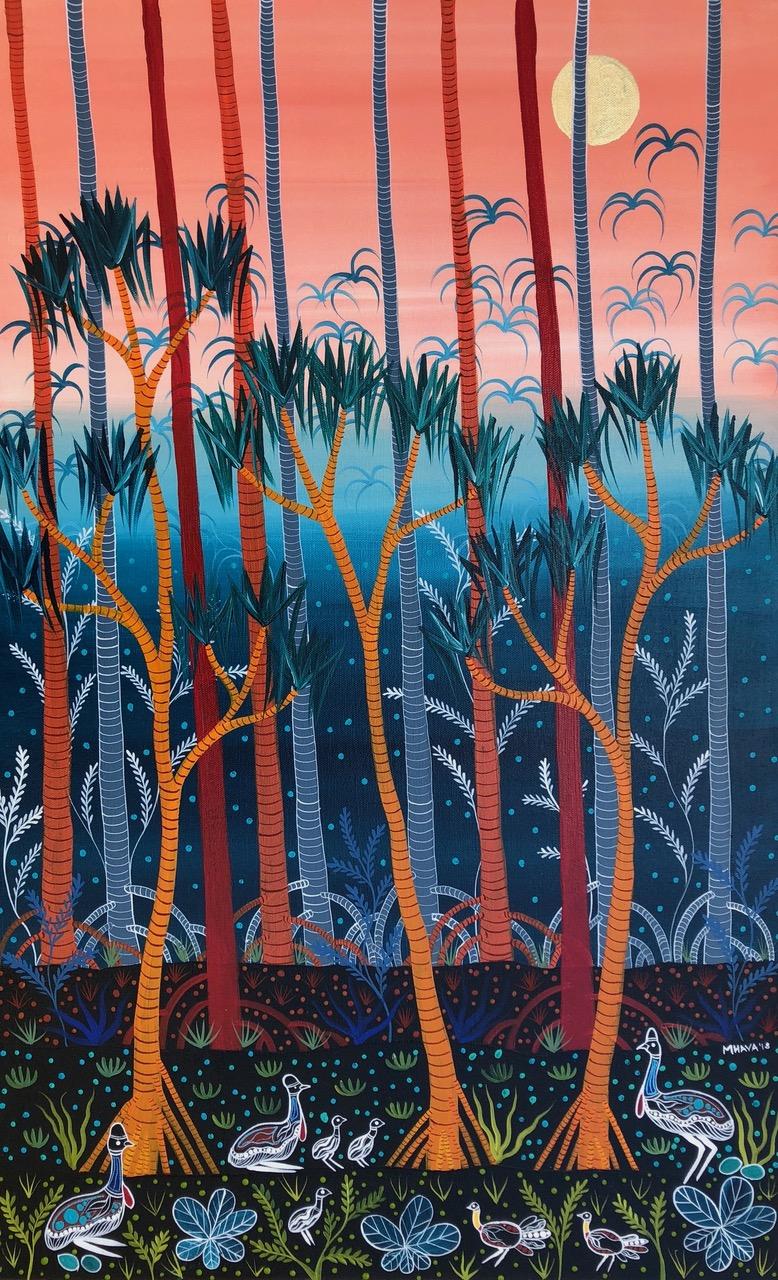 Cassowaries in Pandanus Forest