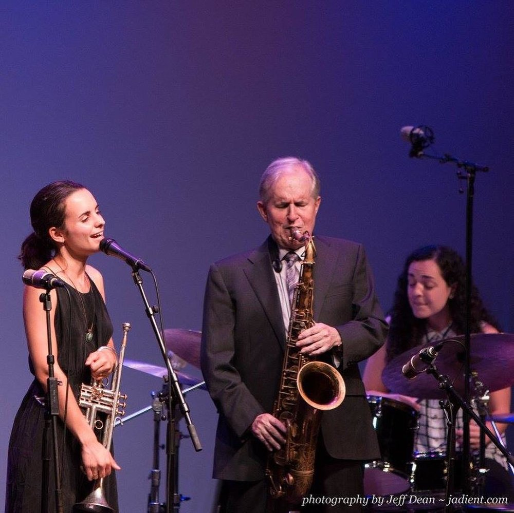 Andrea Motis and Scott Hamilton at the Stanford Jazz Festival  Photo by Jeff Dean
