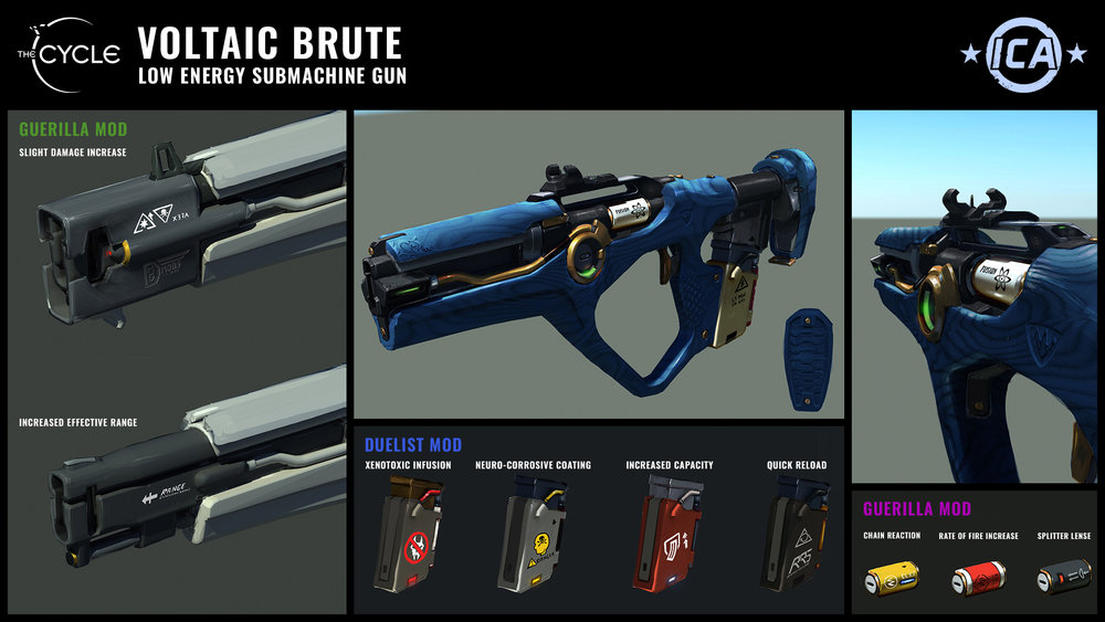 Concept art – Voltaic Brute. Note: Weapon mods shown are still in concept stage and potential implementation is TBD.