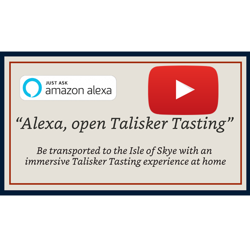 Talisker tasting - Alexa Skill [VIDEO] - A Whisky Tasting experience commissioned by Diageo. Official press release here and met with critical acclaim from industry press including; The Verdict, Beverage Daily, Drinks Retailing News, The Spirits Business, The Drinks Business, Harpers, Just Drinks. Watch the demo video of the Alexa Skill here.