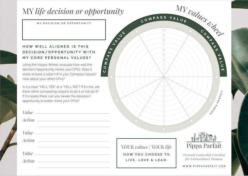 Values Wheel - My Life Decision/Opportunity - CLICK TO DOWNLOAD