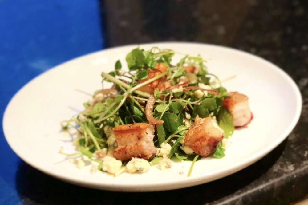 Steve's pork belly salad is the perfect recipe for lunch with friends