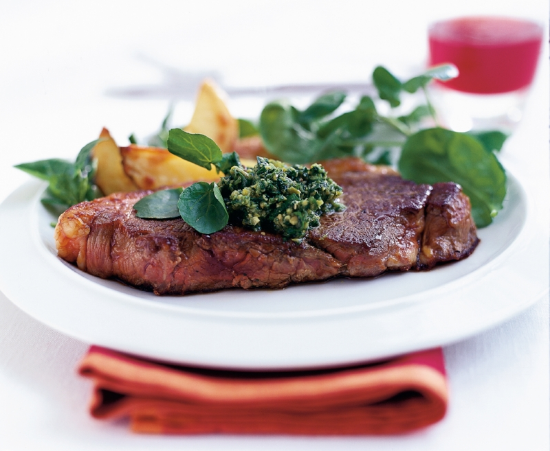 Pan fried steak with watercress & olive sauce.jpg