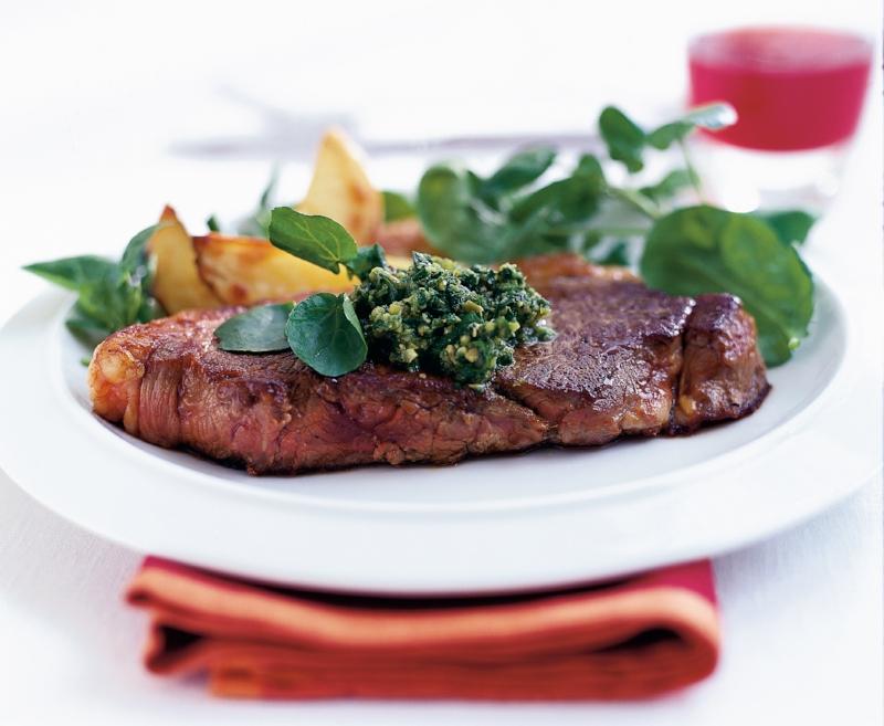 Pan fried steak with watercress & olive sauce.jpg