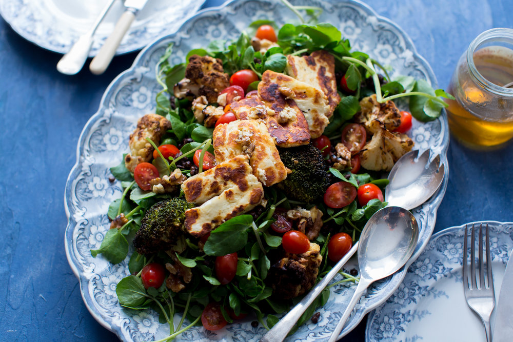 Roasted Broccoli and Cauliflower with Puy Lentils, Halloumi and Watercress 2.jpg
