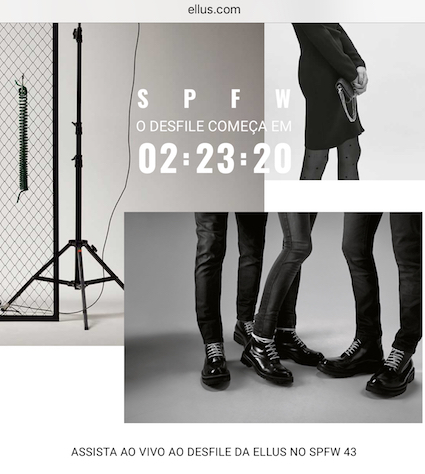 Image of the countdown for the Runway Show celebrating Ellus 45 years, displayed on ellus.com