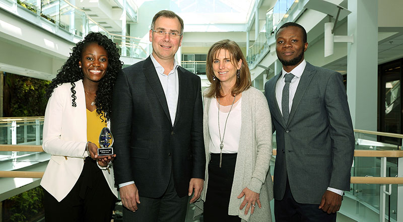 Dr. Michael Durland and Catherine Durland are pictured with Shawn Simamba and Samuel Ayanlaja of SeeMePly, one of the three winning teams at the 2nd annual Durland Innovation Fund competition held April 21st. The other two winning teams were SWAP (Armando Tenias, Rahul Tiwari, Jared Perry, Nigel Lutchman, Kardam Tiwari) and ProTell (Yves Ibeme and Shivani Rawat).
