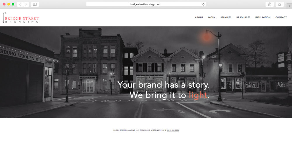 <strong>Bridge Street Branding</strong><p>Website Design, Web Animation, Graphic Design</p>