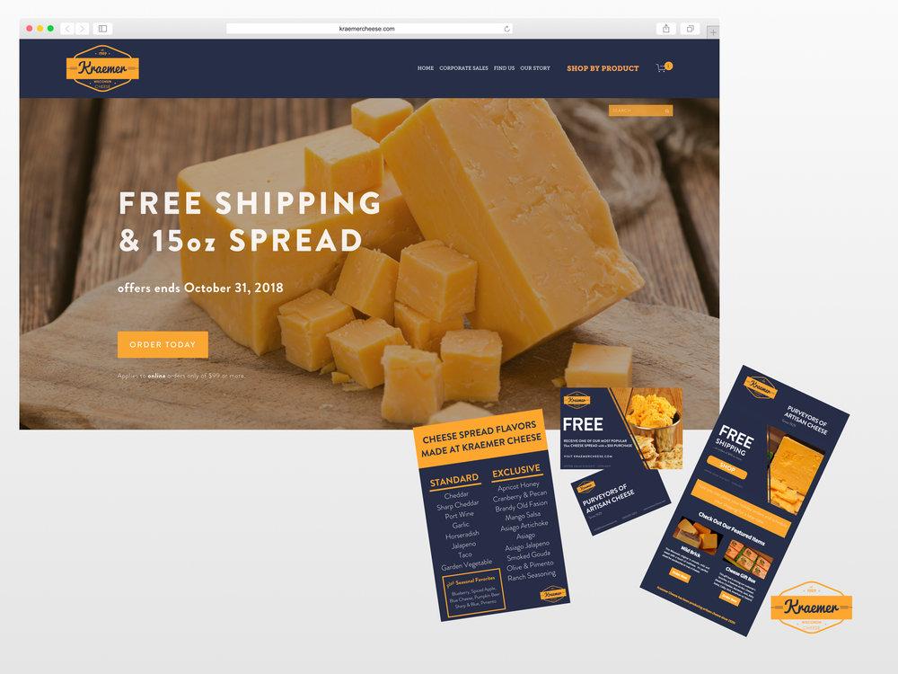 <strong>Kraemer's Wisconsin Cheese</strong><p>Website Design, Graphic Design, Logo Design, Photography & Copywriting</p>