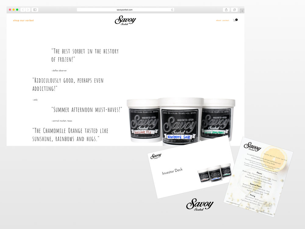 <strong>Savoy Sorbet</strong><p>Website Design, eCommerce, Graphic Design, Photo Editing & Copywriting</p>