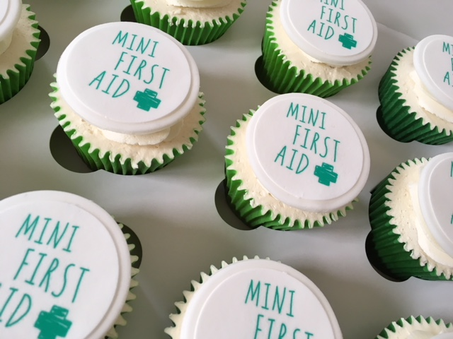 Mini First Aid Branded Cupcakes for Launch event