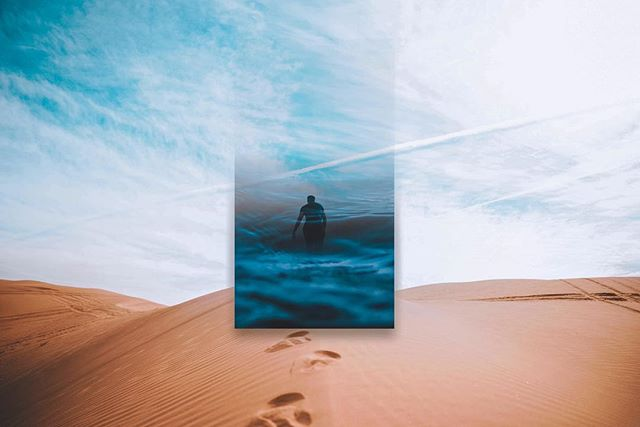 It's too cold to be outside with a camera so here's another remix☀️🌊 #unsplashremix #remix #unsplash #madewithunsplash #photoshop #lightroom #sea #ocean #blue #water #people #person #man #desert #sand #hot #sky #footprints #canon #adobe #abstract #creative #art #minimal #photography