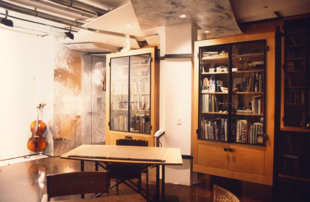 View of Main Living Room : Painting Wall : Kimono Bookshelves.jpg
