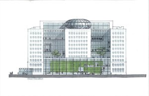 Edmonton Federal Building - concept development. Drawing by Dong An