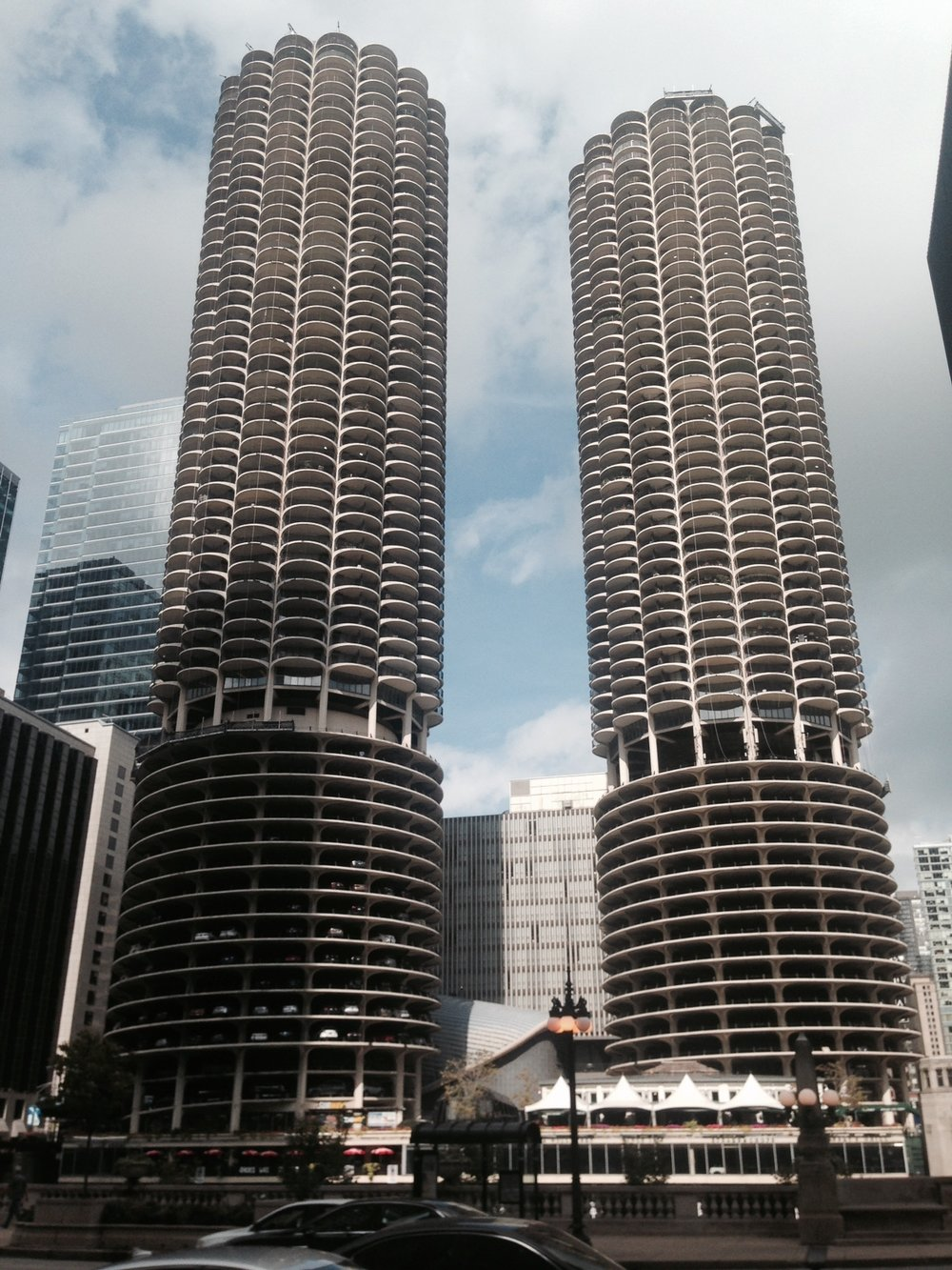 Marina City.  I remember the opening shots every week of the Bob Newhart show and these buildings up the view of the river.  Iconic